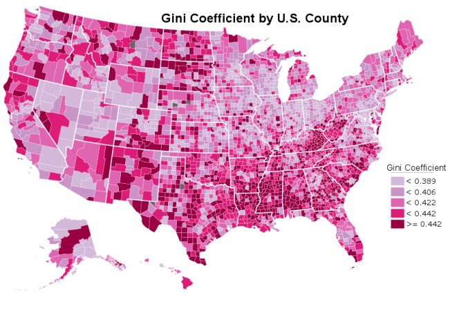 This map shows the average gini coefficient of each county's census tracts. Counties in dark grey had insufficient population per tract for analysis.