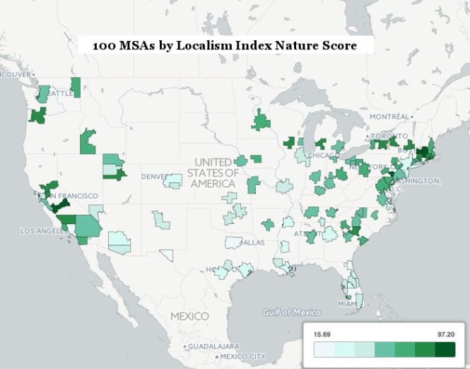 For Nature, a city-level Locavore Index is used. This is based on per capita direct-to-individual-sales of local agriculture and the number of farmers markets per capita. Here, darker green corresponds to higher consumption of locally produced food.